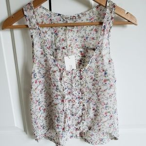 White floral tank top with ruffles & buttons